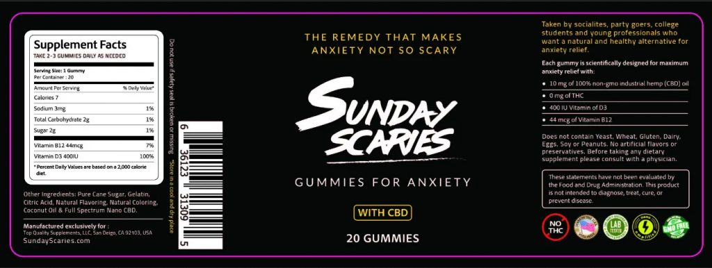 Sunday Scaries CBD Gummies Ingredients lable